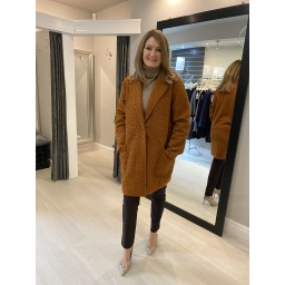 Lucy Cobb Jess Boucle Coat in Rust