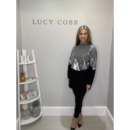 Lucy Cobb Sequin Block Panel Jumper - Grey
