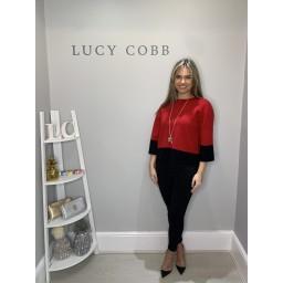 Lucy Cobb Box Block Stripe Jumper - Red