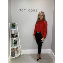Lucy Cobb Clemmie High Neck Top in Red