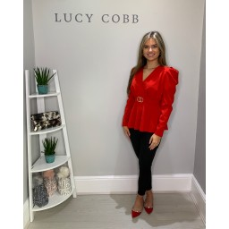 Lucy Cobb Puff Shoulder Belted Top in Red