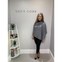 Lucy Cobb Sparkle Edged Poncho - Grey