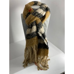 Lucy Cobb Super Soft Check Scarf in Camel