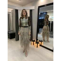 Lucy Cobb Lara Layered Tulle Skirt - Taupe