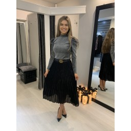 Lucy Cobb Perla Pleated Skirt - Black