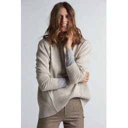 Oui Knitted Jumper With Beading  - Stone