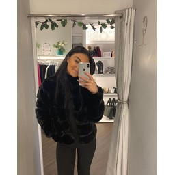 Lucy Cobb Fion Faux Fur Jacket in Black
