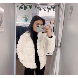 Lucy Cobb Fion Faux Fur Jacket in Cream