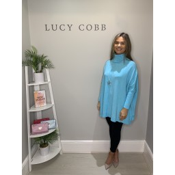 Lucy Cobb Cassie Oversized Cowl Neck - Turquoise