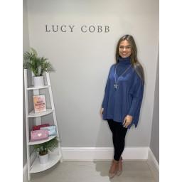 Lucy Cobb Cassie Oversized Cowl Neck - Denim