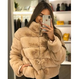 Lucy Cobb Fion Faux Fur Jacket in Blush Pink