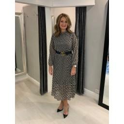 Lucy Cobb Kate High Neck Dress - Black Mix