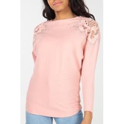 Lucy Cobb Diamante Crochet Shoulder Jumper - Baby Pink