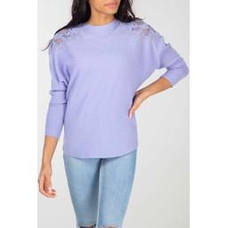 Lucy Cobb Diamante Crochet Shoulder Jumper - Lilac