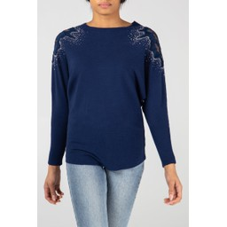 Lucy Cobb Diamante Crochet Shoulder Jumper - Navy
