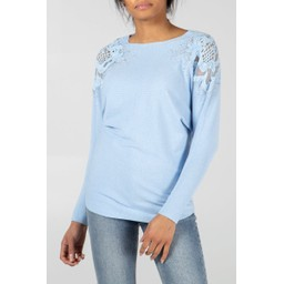 Lucy Cobb Diamante Crochet Shoulder Jumper - Pale Blue