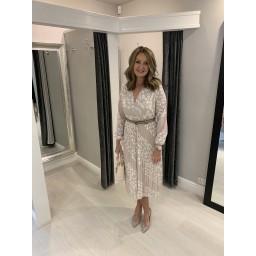 Lucy Cobb Minnie Midi Dress  in Beige Spot