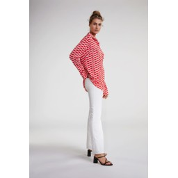 Oui Lip Print Blouse - Red