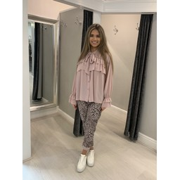 Lucy Cobb Leopard Crinkle Joggers in Pink