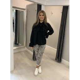Lucy Cobb Leopard Crinkle Joggers - Stone