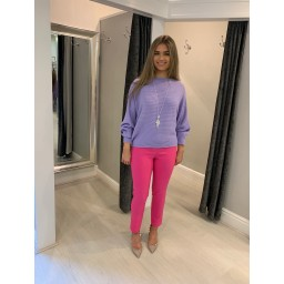 Lucy Cobb Ribbed Batwing Jumper  - Lilac