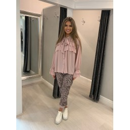 Lucy Cobb Leopard Crinkle Joggers - Baby Pink