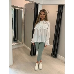 Lucy Cobb Kendall Ruffle Blouse in White