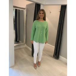 Lucy Cobb Diamante Star Back Jumper - Lime