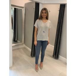 Lucy Cobb Sparkle Front V-Neck Tshirt - Stone