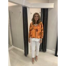 Lucy Cobb Bold Pattern V neck Top in Orange