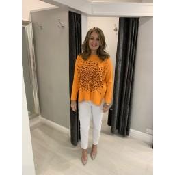 Lucy Cobb Leah Leopard Patch Jumper - Orange