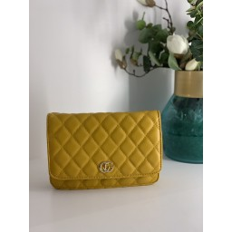 Lucy Cobb Quilted Crossbody Bag - Mustard