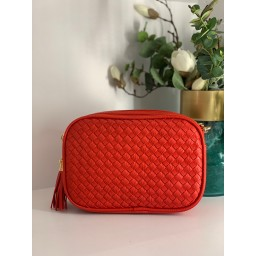 Lucy Cobb Platted Crossbody Bag - Red