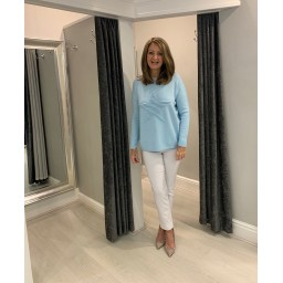 Lucy Cobb Super Soft Luxury Star Jumper in Baby Blue
