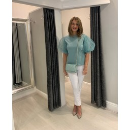 Lucy Cobb Pisa Organza Sleeve Top in Soft Green
