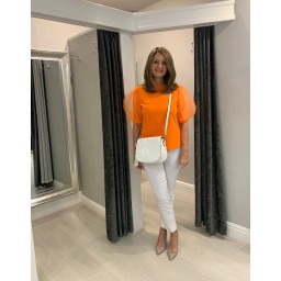 Lucy Cobb Pisa Organza Sleeve Top in Orange