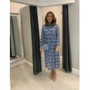 Kate High Neck Dress - Blue Mix