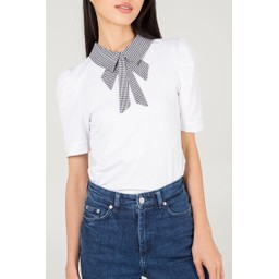 Lucy Cobb Dogtooth Collar T-Shirt - White