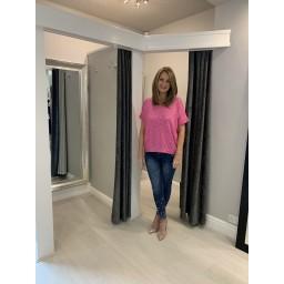Lucy Cobb Sparkle Front V-Neck Tshirt - Fuchsia