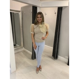 Lucy Cobb Organza Pussy Bow Tee - Taupe