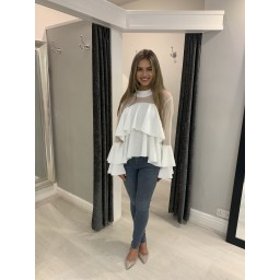 Lucy Cobb Samba Ruffle Top in White