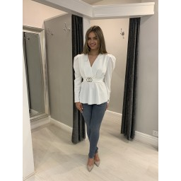 Lucy Cobb Puff Shoulder Belted Top - White