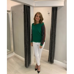 Lucy Cobb Glitter Printed Arm Detail Jumper  in Green