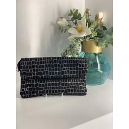Malissa J Fold Over Leather Clutch - Black Check