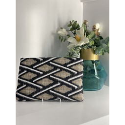 Malissa J Zip Fabric Wallet - Black & White