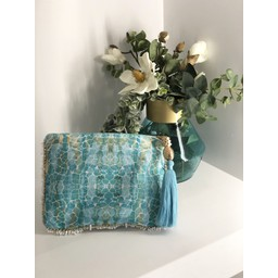 Sophia Alexia Clutch Bag in Aqua Pebbles