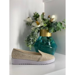 Lucy Cobb Platform Weave Shoes in Stone