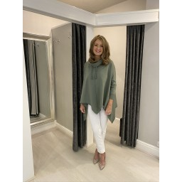 Lucy Cobb Cowl Neck Sweatshirt in Khaki