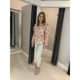 Lucy Cobb Floral Frill Sleeve Blouse - Pink Flower