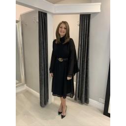 Lucy Cobb Angel Midi Dress - Black